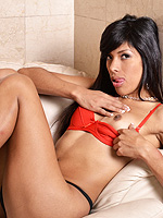 Ts angie. Brunette beauty Angie strips & poses