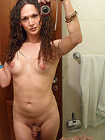 Nikki hotel naked selfies. Dirty shemale Nikki shows it all