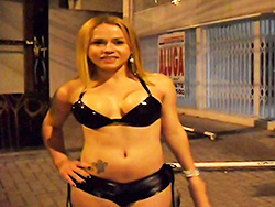 Sao paulo streets. Nikki with a ladyboy in public