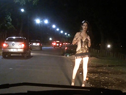 Nicole naked on street. Seductive Nicole stripping on the street in public