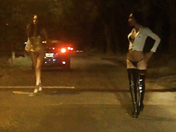 Nikki is a street whore. Excited Nicole Montero teasing guys on the street